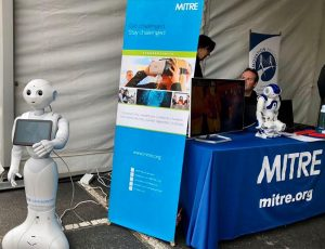 Great kick off to Mass #STEM Week this past Sunday @MassRobotics' #Robot Block Party on Drydock Ave., Boston. Lots of kids and parents showed up to learn about and interact with robots. @MITREPepper was their to greet guests as they entered the event.